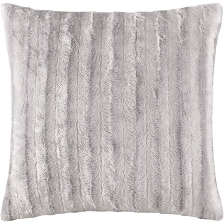 Madison Park Duke Faux Fur 20 X 20 Inch Square Throw Pillow with Sewn Closure, Grey