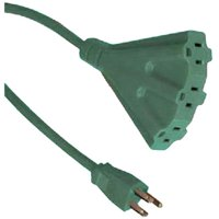 Outdoor Extension Cord, Green, Triple Tap, 8-Ft.