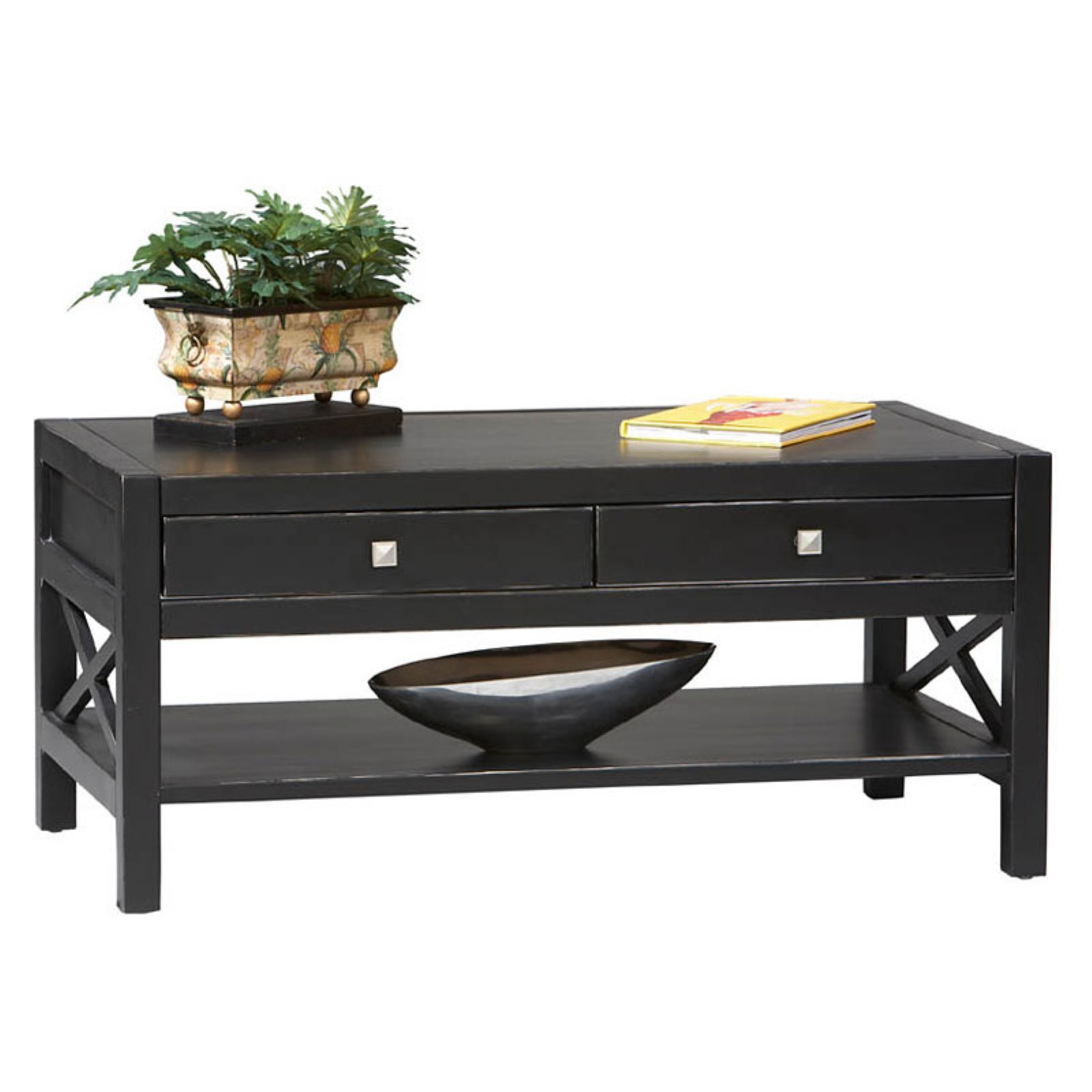Linon Anna Collection Coffee Table in Antique Black by Linon