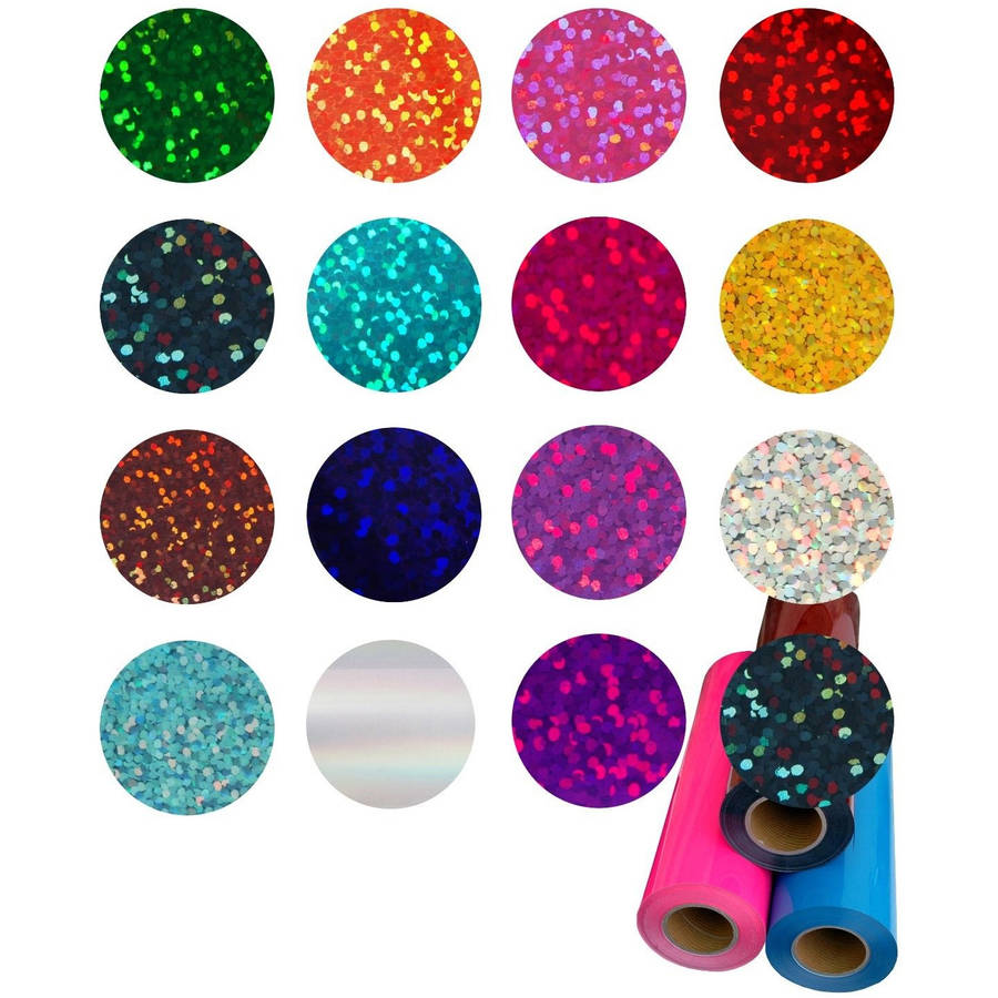 "Threadart Holographic 20"" Heat Transfer Vinyl Film By The Yard, Available in 18 Colors"