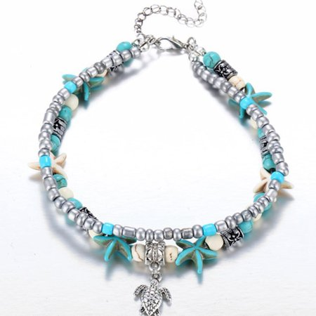 Fancyleo 2-Layered Turtle Starfish Turquoise Anklet Boho Beach Chains Women Girls Jewelry (Chain Turquoise Anklet)