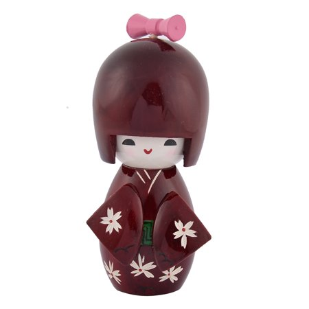 Unique Bargains Home Flower Engraved Wooden Kimono Decorative Doll Japanese Kokeshi Dark Red ()