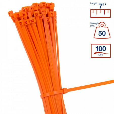 - BCT 7 Inch 50 lb Cable Ties - Medium Duty Industrial/Home Use - Bag of 100 - Orange - Zip Ties - Y7503C