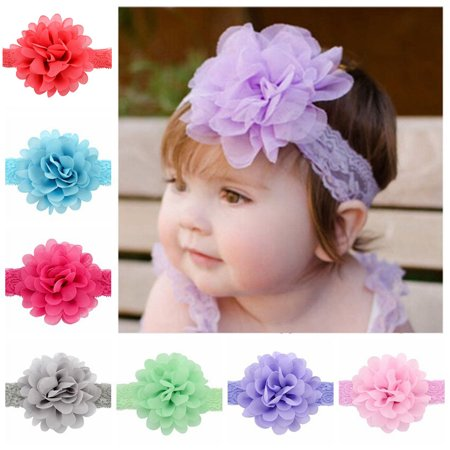 Hair Clips For Flower Girl ((12Pcs/4.3in)Lace Flower Headbands,Coxeer Ribbon wide Headwear Head Wraps Hair Clips Cute Lovely Hair Accessories for Baby Girls Kids Toddlers)
