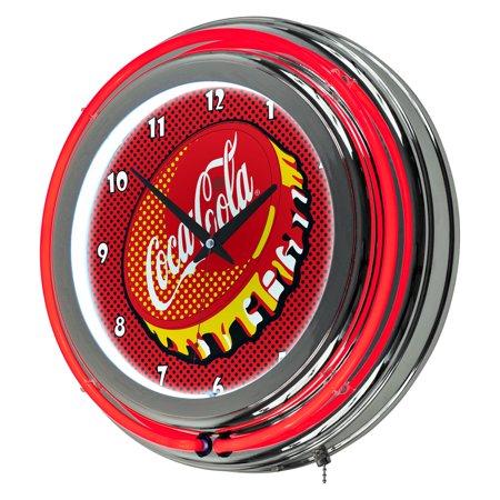 Coca Cola Chrome Double Rung Neon Clock, Pop Art Coca Cola Wall Clock