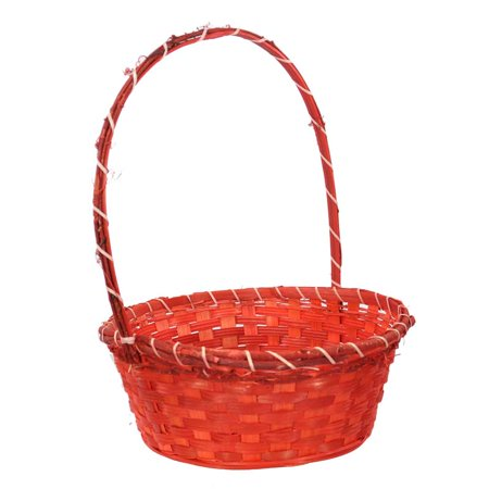 Vine Handle - Large Bamboo Vine Handle Basket - Red 12in