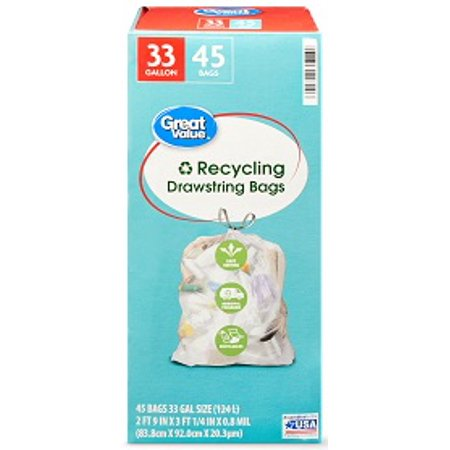 Great Value Clear Recycling Bags, 33 Gallon, 45 Count