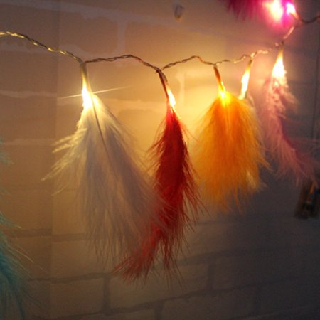 Romantic Feather String Light, 3.9FT 10LEDs Decorative Fairy Lamp, Battery Operated - image 6 of 7
