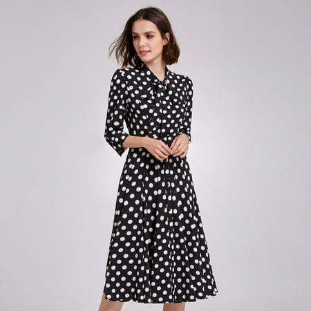 Alisa Pan Women's Retro Polka Dot Printed Wear to Work Midi Dress Long Sleeve Business Casual Party Dresses for Women