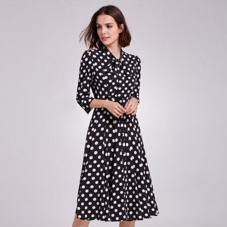 Alisa Pan Women's Retro Polka Dot Printed Wear to Work Midi Dress Long Sleeve Business Casual Party Dresses for Women 05930
