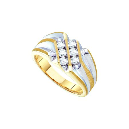 Size 13 - 10k Yellow Gold Mens Round Diamond Double Row Two-tone Ridged Band Ring (1/2 Cttw)