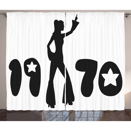 Nachtmann Dancing Stars (70s Party Curtains 2 Panels Set, Retro Seventies Woman Silhouette with Stars Dancing Fashion Youth Design, Window Drapes for Living Room Bedroom, 108W X 96L Inches, Black and White, by Ambesonne )
