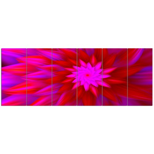 Design Art 'Dance of Bright Spiral Pink Flower'  6 Piece Graphic Art Print Set on Canvas