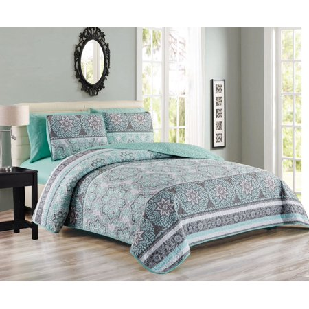 Ultra-Soft Medallion Floral Patchwork 6-Piece Reversible King Bedspread Set with Sheet (9 Nursery Quilt)