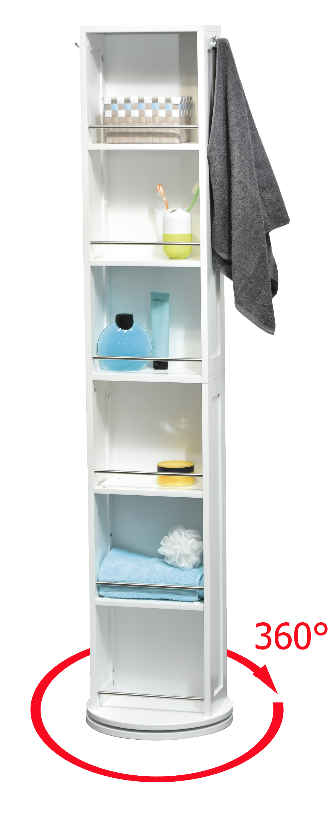 Swivel Storage Cabinet Organizer Tower White Free Standing Linen