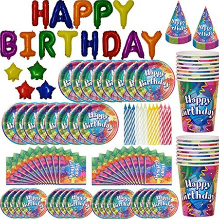 Birthday Party Supplies for 16 - Includes Balloon Birthday Banner, Large Plates, Small Plates, Cups, Napkins, Candles, Birthday Hats - all Paperware with a Matching Multi-colored Design and Decoration
