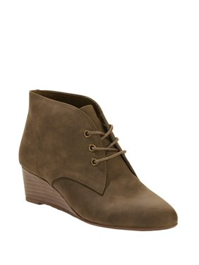 Melrose Ave Vegan Suede Lace Up Wedge Bootie (Women's)