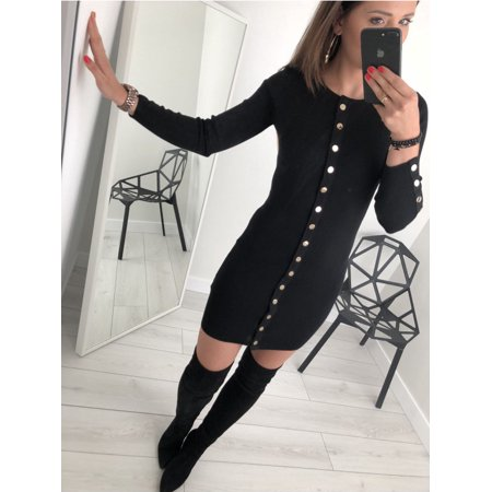 e36eae53c42 UKAP - Women's Slim Chunky Cable Knit Pullover Bodycon Button Fit Round  Neck Long Sleeve Sweater Midi Dress - Walmart.com