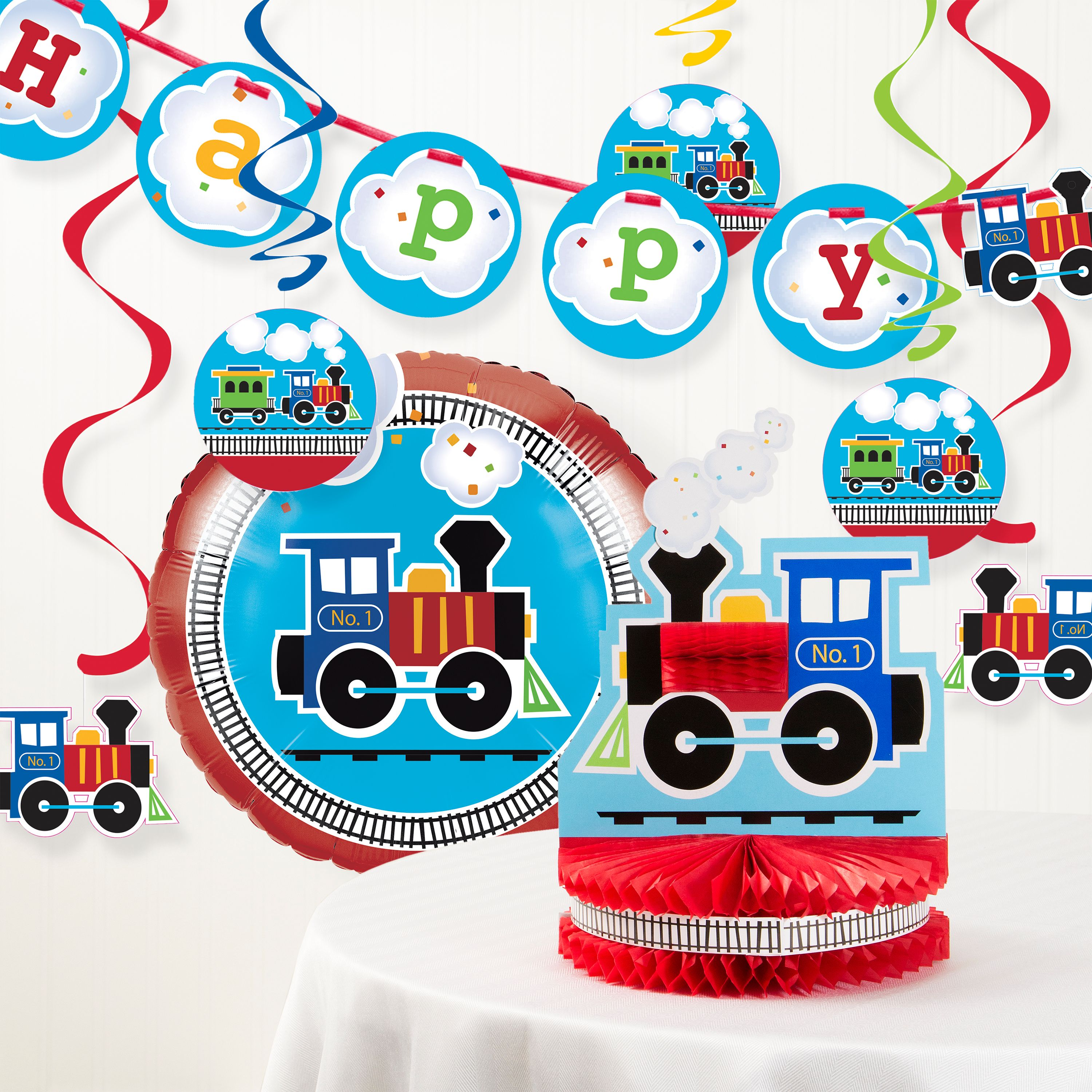 All Aboard Train Birthday Party Decorations Kit