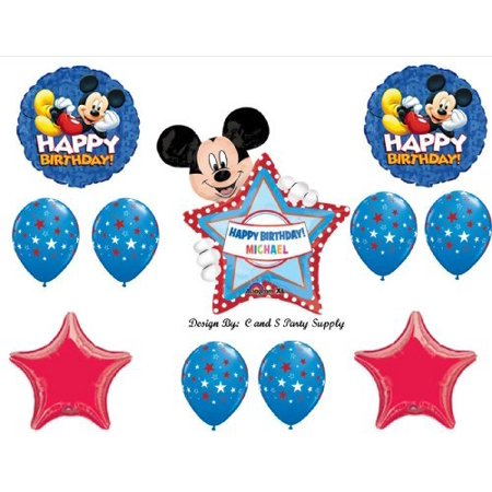 Red Mickey Mouse PERSONALIZED Happy Birthday Party Balloons Decorations Supplies Clubhouse by Anagram - Club Decorations