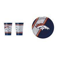 Denver Broncos 20 Pc Disposable Paper Plates And 20 Pc Disposable Paper Cups