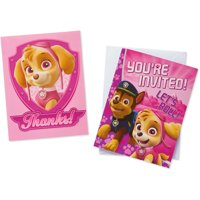 PAW Patrol Pink Party Invite and Thank You Combo Pack, 8ct