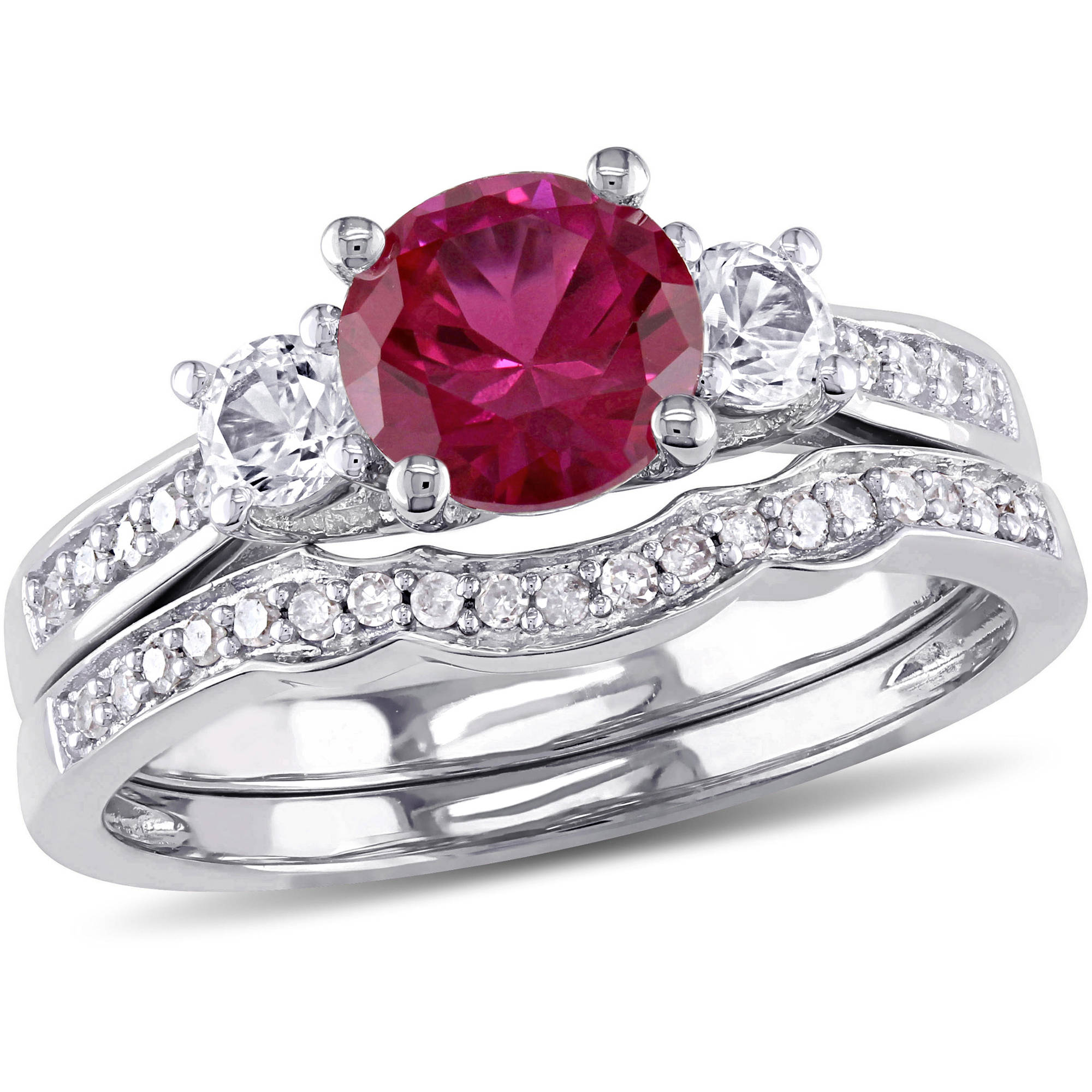 Tangelo 1-1 3 Carat T.G.W. Created Ruby and Created White Sapphire and 1 7 Carat T.W. Diamond 10kt White Gold... by Tangelo