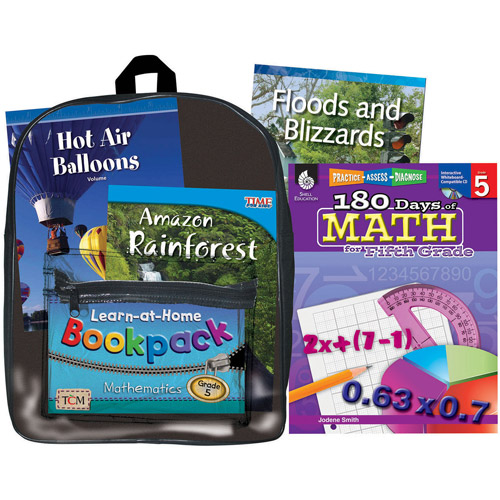 Shell Education Learning At Home Backpack, Grade 5 Mathematics