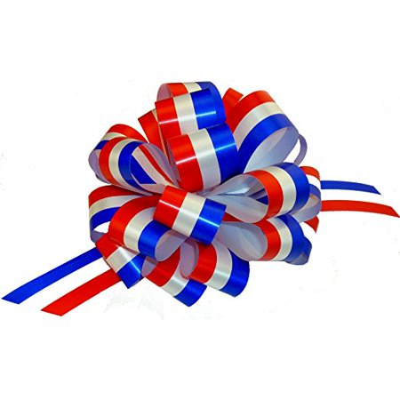 Red  White  And Blue Pull Bows   6  Wide  Set Of 6  Patriotic Holiday Decorations For 4Th Of July  Memorial Day  Veterans Day  Election Ribbon