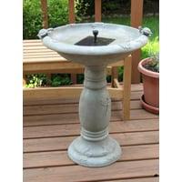 Smart Solar Country Gardens Solar Birdbath Fountain Gray Weathered Stone