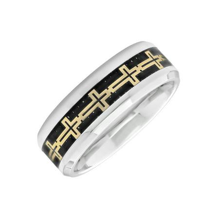 Men's Stainless Steel 8MM Gold Tone Cross on Carbon Fiber Wedding Band - Mens Ring