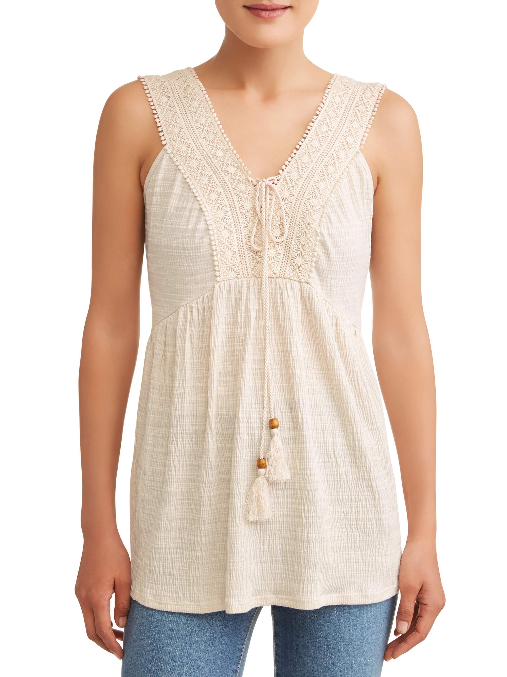 Women's Textured Lace Up Tank Top