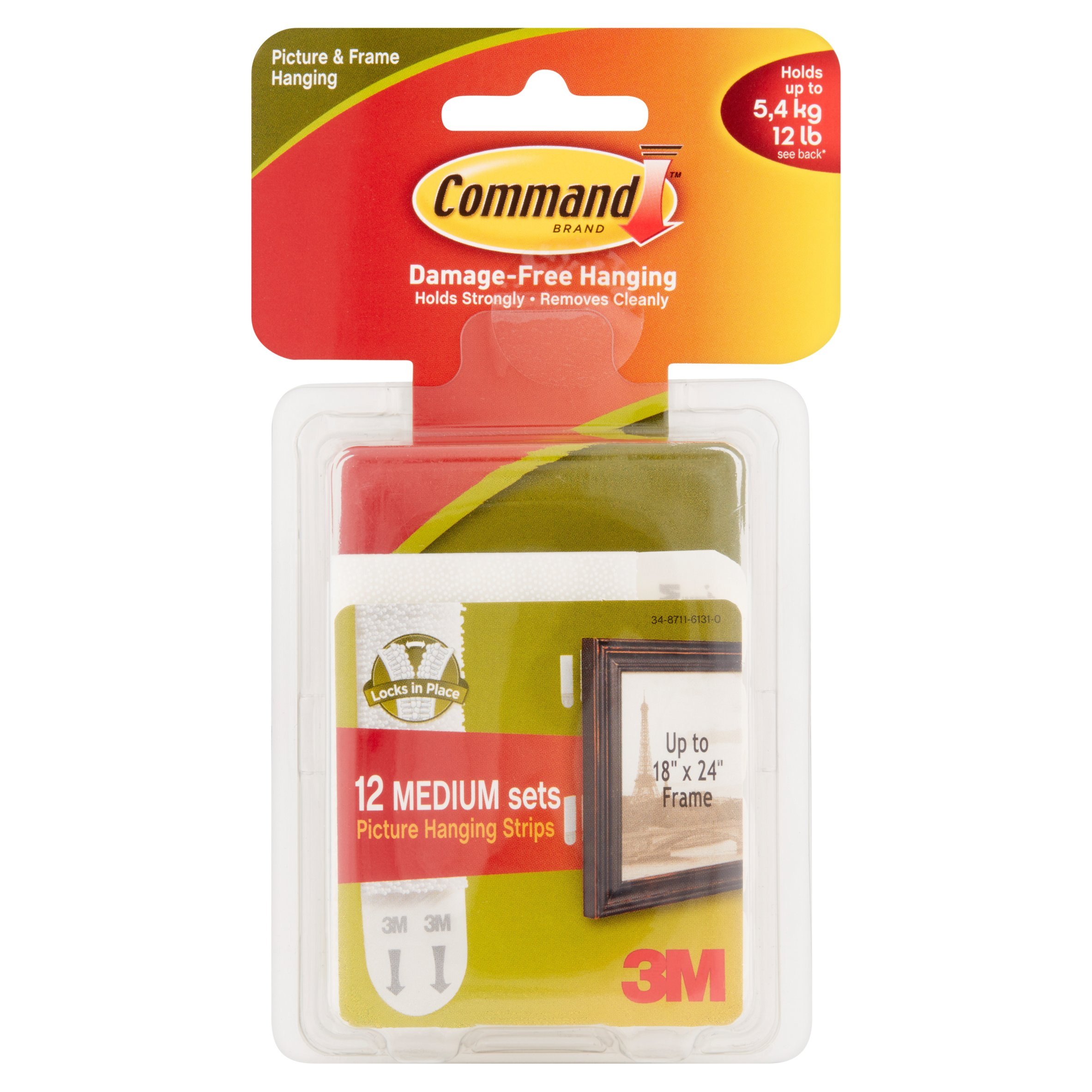 Command Picture Hanging Strips, White, Medium, 12 Sets of Strips/Pack