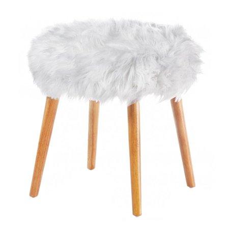 Superb Fluffy Stool 4 Legged Contemporary Decorative Round Fluffy White Faux Fur Stool Machost Co Dining Chair Design Ideas Machostcouk