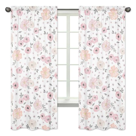 Sweet Jojo Designs 2-Piece Blush Pink, Grey and White Window Treatment Panels Curtains for Watercolor Floral Collection by ()