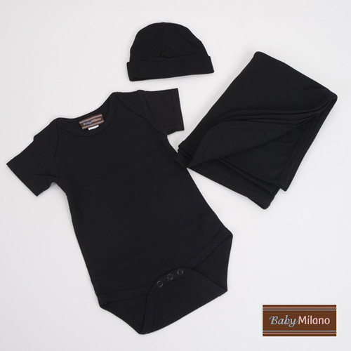 Baby Milano Infant Bodysuit, Blanket and Hat Deluxe Gift Set in Black