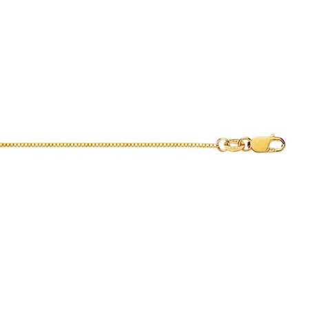 18k Yellow Gold 0.6mm Classic Box Chain With Lobster Clasp Necklace - Length: 16 to 20