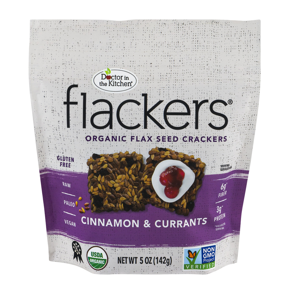 Doctor in the Kitchen Flackers Organic Flax Seed Crackers Cinnamon & Currants, 5.0 OZ