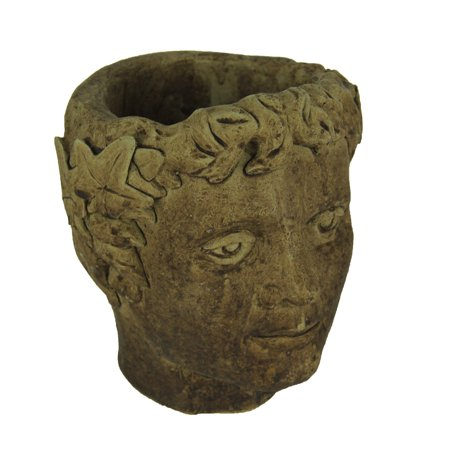 Designer Stone Driftwood Finish Classical Roman Head Cement Planter