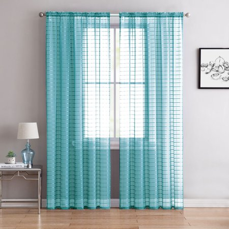 2 Pack: Contemporary Plaid Sheer Voile Window Curtains - Turquoise ()