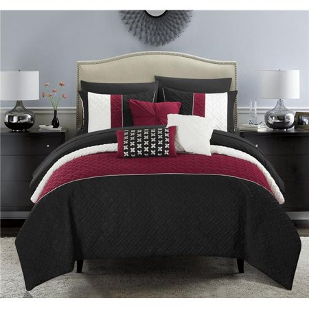 Chic Home BCS10001-US Twin Size Lior Comforter Set Color Block Quilted Embroidered Design Bed Sheets & Decorative Pillows, Black - 8 Piece