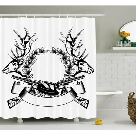 Hunting Decor Shower Curtain Elk Heads Oak Wrath And Crossed Guns With Label Huntsman Tattoo