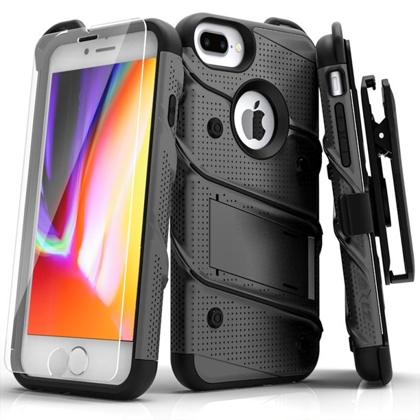 Zizo Bolt Series Case With Screen Protector Holster And Kickstand For Iphone 8 Plus And Iphone 7 Plus Gunmetal Gray Walmart Com Walmart Com