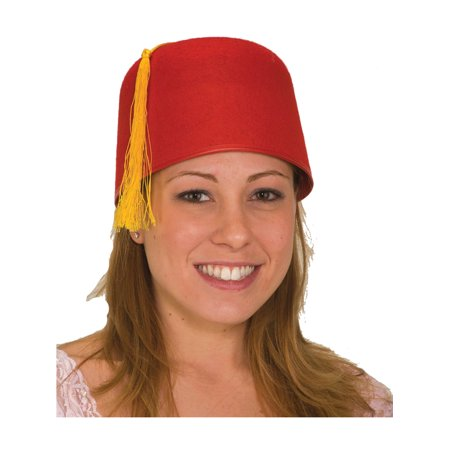 Classic Adult Red Fez Hat With Attached Gold Tassel Costume Accessory