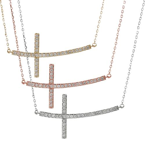 Journee Collection Sterling Silver Cubic Zirconia Sideways Curved Cross Necklace Gold