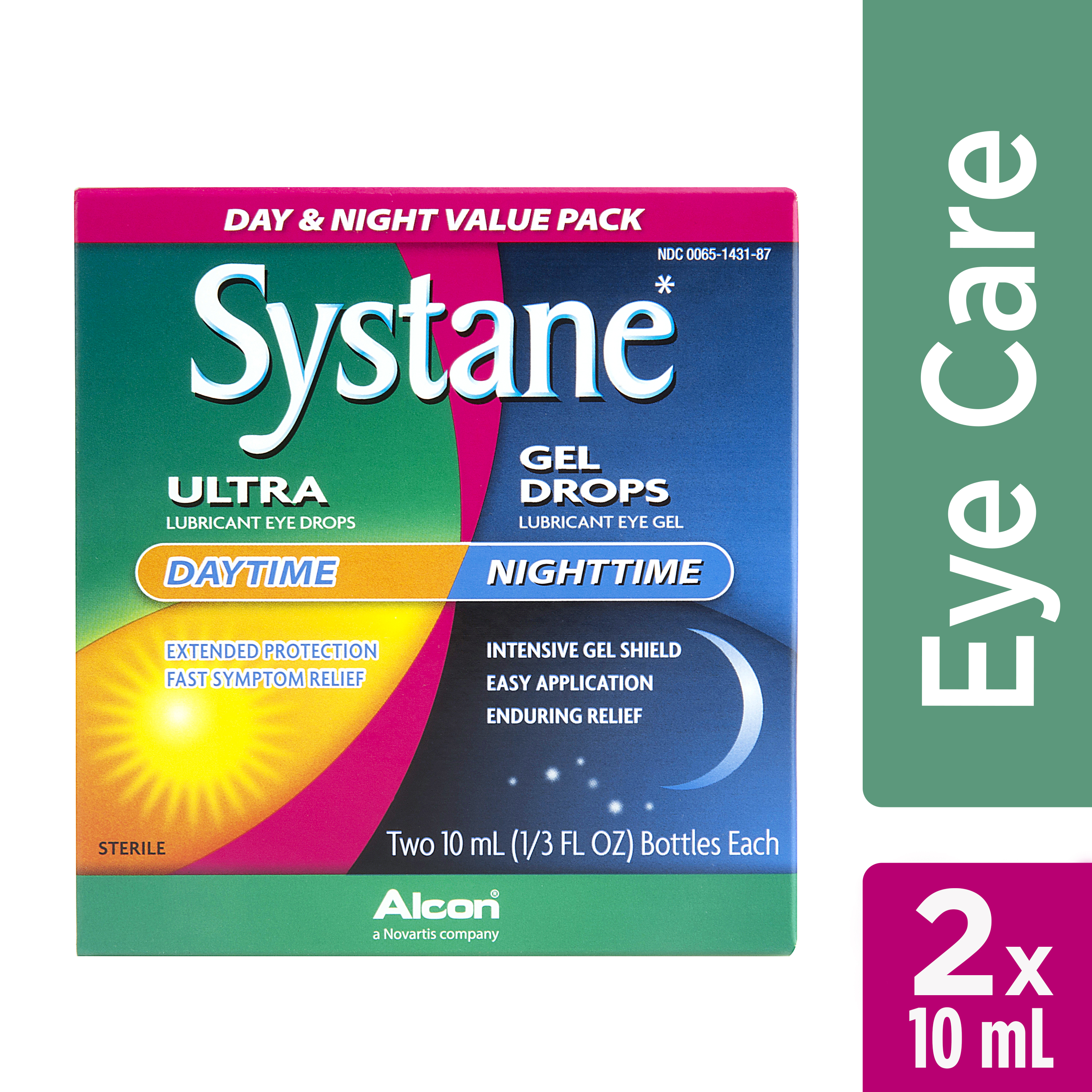 SYSTANE Day & Night ULTRA Lubricating Eye Drops and Nighttime Gel Drops for Dry Eyes Symptoms, 2 x 10mL TWIN