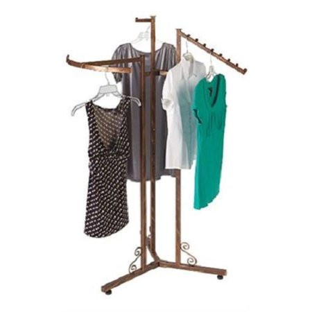 GHP Hand Brushed Copper w Decorative S-Shape Accent 3-Way Clothing Storage Rack ()