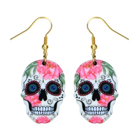 Sugar Skull Style Earrings Bright Colorful Pink Flower Skull Head Design Earrings SSE-7