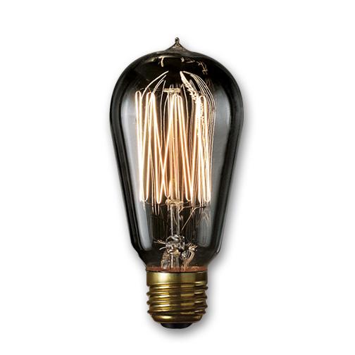 NOS40 1910/SMK 40 Watt Nostalgic Edison ST18 Bulb Vintage Thread Filament Medium Base Smoke, Case of 12