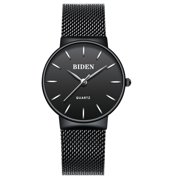 Womens Quartz Watch Black Dial Steel Mesh Belt Pin Time Scale Ultra-Thin for Collection Gift Lovers Gift Casual